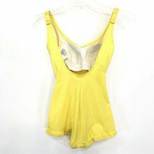 DeWeese Design Swim - VINTAGE 50'S Pin Up Swim Suit YELLOW Vtg Sz 10/32